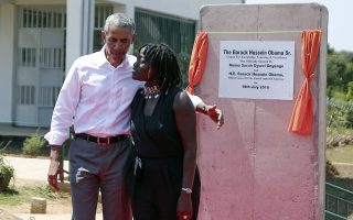 Former US President Barack Obama and his half sister Auma Obama, at Kogelo, Kenya, Monday, July 16, 2018. Former U.S. President Barack Obama Monday praised Kenya's president and opposition leader for working together but said this East African country must do more to end corruption. Obama, on his first visit to Africa since stepping down as president, commended President Uhuru Kenyatta and opposition leader Raila Odinga for cooperating following last year's disputed presidential election which were marked by violence. (AP Photo Brian Inganga)