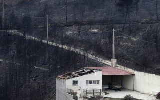 People look the burned forest from their balcony in Neos Voutzas, east of Athens, Tuesday, July 24, 2018. Wildfires raged through seaside resorts near the Greek capital, torching homes, cars and forests and killing at least 74 people, authorities said Tuesday. (AP Photo/Thanassis Stavrakis)
