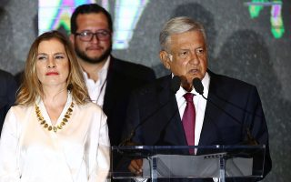 Presidential candidate Andres Manuel Lopez Obrador addresses supporters after polls closed in the presidential election, in Mexico City, Mexico July 1, 2018.   REUTERS/Edgard Garrido