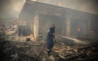 Πυρκαγιά στην περιοχή της Κινέτας. Η φωτιά κατέστρεψε σπίτια καθώς και δασική περιοχή, Δευτέρα 23/7/2018. (Eurokinissi/ΣΤΕΛΙΟΣ ΜΙΣΙΝΑΣ)