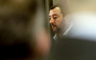 """Italian Interior Minister Matteo Salvini attends a joint press conference with Vice President of Libyc Parliamentary Council Ahmed Maitig, in Rome, Thursday, July 5, 2018. Salvini says he has asked authorities to speed up processing asylum requests and be more """"rigorous"""" before granting internationally recognized forms of protection that fall short of asylum.  (AP Photo/Andrew Medichini)"""