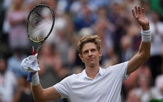 Tennis - Wimbledon - All England Lawn Tennis and Croquet Club, London, Britain - July 13, 2018  South Africa's Kevin Anderson celebrates winning his semi final match against John Isner of the U.S.   REUTERS/Tony O'Brien