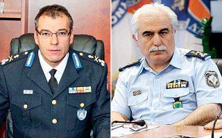 Από αριστερά: Ο νέος αρχηγός του Πυροσβεστικού Σώματος Βασίλης Ματθαιόπουλος και ο νέος αρχηγός της ΕΛ.ΑΣ. Αριστείδης Ανδρικόπουλος.