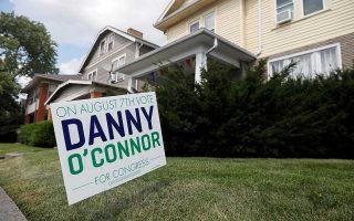 Πινακίδα υπέρ της εκλογής του 31χρονου Δημοκρατικού Ντάνι Ο' Κόνορ στο Κολόμπους του Οχάιο.
