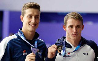 Ο Ελληνας κολυμβητής (αριστ.) αναδείχθηκε δευτεραθλητής Ευρώπης στα 50 μ. ελευθέρως με χρόνο 21.44, επίδοση που αποτελεί πανελλήνιο ρεκόρ.