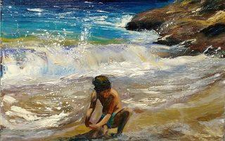 «Πρώτη φορά στη ζωή μου βλέπω τόσο τεράστια κύματα», αναφώνησε ο Μίχος, ενθουσιασμένος, στη μικρή παραλία κάτω από τον Αη Νικόλα.