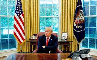 Ο πρόεδρος Τραμπ παραχωρεί συνέντευξη στο πρακτορείο Reuters, στο Οβάλ Γραφείο του Λευκού Οίκου.