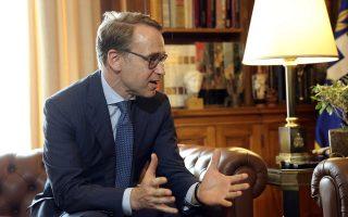 Ο Πρόεδρος της Δημοκρατίας Προκόπης Παυλόπουλος (δεν εικονίζεται) συνομιλεί με τον πρόεδρο της Γερμανικής Ομοσπονδιακής Κεντρικής Τράπεζας (Deutsche Bundesbank) Γενς Βάιτμαν (φωτο), κατά την διάρκεια της συνάντησης τους στο Προεδρικό Μέγαρο, Πέμπτη 30 Αυγούστου 2018. ΑΠΕ-ΜΠΕ/ΑΠΕ-ΜΠΕ/ΣΥΜΕΛΑ ΠΑΝΤΖΑΡΤΖΗ