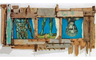 Γιάννης Ψυχοπαίδης, «Κερματισμένη μνήμη». Μεικτή τεχνική, διαστάσεις 140x76 εκ., 2005.