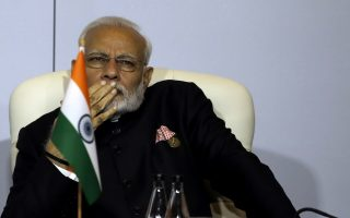 The Indian Prime Minister Narendra Modi looks on during the BRICS Summit in Johannesburg, South Africa, Thursday, July 26, 2018. The summit runs through Friday with various heads of the emerging national economies BRICS attending. (AP Photo/Themba Hadebe, Pool)