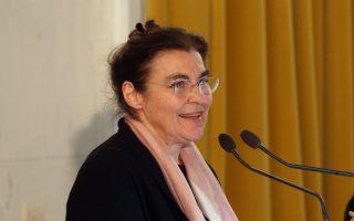 Η ΥΠΠΟ Λυδία Κονιόρδου κατά το χαιρετισμό της, στην ημερίδα με θέμα <>  που διοργανώνουν στο κτίριο της  Παλαιάς Βουλής,  ο Σύλλογος Ελλήνων Αρχαιολόγων και το Εθνικό Συμβούλιο Διεκδίκησης των Οφειλών της Γερμανίας προς την Ελλάδα, Πέμπτη 19 Απριλίου 2018. ΑΠΕ-ΜΠΕ/ΑΠΕ-ΜΠΕ/Αλέξανδρος Μπελτές