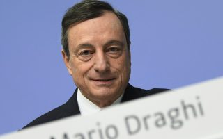 Mario Draghi, President of the European Central Bank, ECB, attends a press conference in the ECB headquarter in Frankfurt, Germany, Thursday, Jan. 25, 2018.  (Arne Dedert/dpa via AP)