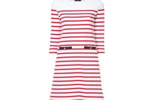 Μίνι ριγέ φόρεμα σε λευκό με κόκκινο €60,00