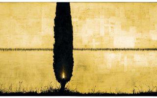 Χρήστος Μποκόρος, «Κυπαρίσσι, δένδρο μνήμης». Ζωγραφισμένο με χρώματα λαδιού σε χρυσοστιλβωμένο ξύλο.