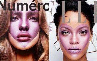 Εξώφυλλο του Elle με τη Ριάνα (δεξιά) το 2017 αντιγράφει εκείνο της Νατάλια Βοντιάνοβα στο Numero Magazine το 2002.