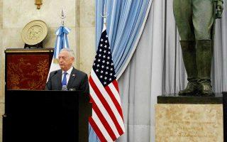 Ο υπουργός Αμυνας των ΗΠΑ, Τζέιμς Μάτις, σε επίσκεψή του στο Μπουένος Αϊρες της Αργεντινής.