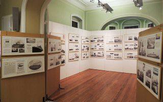 Το εσωτερικό της έκθεσης στην Επαυλη Τσιροπινά στη Σύρο, με την ιστορία των επιβατηγών πλοίων.  Το νησί έπαιξε καθοριστικό ρόλο στην ανάπτυξη  της ναυτιλίας.