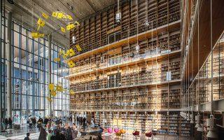 Ο Πύργος Βιβλίων της Εθνικής Βιβλιοθήκης της Ελλάδος, στο Κέντρο Πολιτισμού Ιδρυμα Σταύρος Νιάρχος.