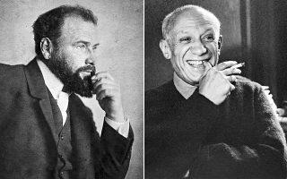 Αριστερά, Γκούσταβ Κλιμτ, 1908. Δεξιά, Πάμπλο Πικάσο, 1955.