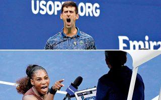 Ο Τζόκοβιτς (πάνω) κατέκτησε το US Open κόντρα στον Ντελ Πότρο, ενώ η Ουίλιαμς τα έκανε άνω-κάτω στον χαμένο τελικό απέναντι στην Οσάκα.