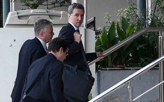 Οι επικεφαλής των θεσμών κατά την είσοδό τους στο υπουργείο Δικαιοσύνης χθες το πρωί, όπου είχαν συνάντηση με τον υπουργό Οικονομικών Ευκλείδη Τσακαλώτο και τον αναπληρωτή υπουργό Γιώργο Χουλιαράκη.