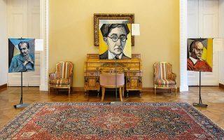 Πορτρέτα Καζαντζάκη, Καβάφη και Ελύτη φιλοτεχνημένα από τον εικαστικό Βαγγέλη Ανδρεόπουλο.