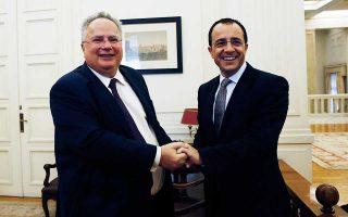 Ο Ελληνας υπουργός Εξωτερικών Νίκος Κοτζιάς με τον Κύπριο ομόλογό του Νίκο Χριστοδουλίδη βρέθηκαν προχθές στο Ισραήλ και χθες στη Λευκωσία.