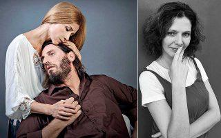 Αριστερά, η Ιωάννα Παππά ως Τζόσι Χόγκαν με τον Γιάννη Νταλιάνη ως Φιλ Χόγκαν, στο «Ενα φεγγάρι για τους καταραμένους». Δεξιά, η Μαρ. Λαμπροπούλου.