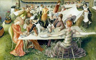 To έργο του Βρετανού ζωγράφου Στάνλεϊ Σπένσερ «Dinner on the Hotel Lawn» ως σχόλιο στη βρετανική ζωή.
