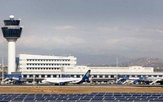 Άποψη από το φωτοβολταϊκό  πάρκο που εγκαινιάστηκε σήμερα στο Διεθνή Αερολιμένα Αθηνών, την Τετάρτη 28 Σεπτεμβρίου 2011 . Τα πάρκο εγκαινίασε ο Υπουργός Περιβάλλοντος, Ενέργειας και Κλιματικής Αλλαγής, Γιώργος Παπακωνσταντίνου. ΑΠΕ ΜΠΕ/ΔΑΑ/Θανάσης Αναγνωστόπουλος