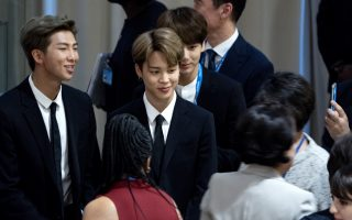 Members of the Korean K-Pop group BTS attend a meeting at the U.N. high level event regarding youth during the 73rd session of the United Nations General Assembly, at U.N. headquarters, Monday, Sept. 24, 2018. (AP Photo/Craig Ruttle)