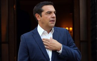 epa07026615 Greek Prime Minister Alexis Tsipras waits to welcome President of Cyprus Nicos Anastasiades (not pictured) prior to their meeting in Athens, Greece, 17 September 2018. The Cypriot President is in Athens on a one-day working visit.  EPA/ORESTIS PANAGIOTOU