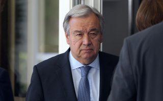 Ο Γενικός Γραμματέας του ΟΗΕ Αντόνιο Γκουτέρες  φτάνει στη Διάσκεψη για το Κυπριακό στο Crans Montana της Ελβετίας,  Πέμπτη 6 Ιουλίου 2017. Χωρίς τους πρωθυπουργούς των τριών εγγυητριών δυνάμεων συνεχίζεται  η Διάσκεψη για το Κυπριακό που διεξάγεται εδώ και οκτώ μέρες στο Κραν Μοντανά της Ελβετίας, με τη συμμετοχή του ΓΓ του ΟΗΕ Αντόνιο Γκουτέρες. ΑΠΕ-ΜΠΕ/ ΚΥΠΕ/ΚΑΤΙΑ ΧΡΙΣΤΟΔΟΥΛΟΥ