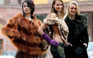 epa00662428 Models Adela, Daniela and Anastassja (L-R) present the latest fur fashion in Frankfurt Main, Germany, Wednesday, 08 March 2006. From the 09 to 12 March 2006, Frankfurt Main will once again be at the centre of the world's fascination with fur and leather. Traders from all over the world will be meeting up for the 58th Fur & Fashion Frankfurt tradefair, the motto this time round is 'Fur in Style'.  EPA/Boris Roessler