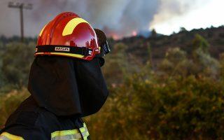 Πυροσβέστης επιχειρεί για την κατάσβεση της πυρκαγιάς στο Κοντοδεσπότι στο Δήμο Διρφύων – Μεσσαπίων Εύβοιας, κοντά στα Ψαχνά σε πυκνή δασική έκταση σε δύσβατο σημείο, την Κυριακή 12 Αυγούστου 2018. Εκκενώθηκαν προληπτικά τα χωριά Κοντοδεσπότι και Σταυρός. Έκλεισε προληπτικά για λόγους ασφαλείας η κυκλοφορία στο δρόμο από τη Χαλκίδα προς τη Βόρεια Εύβοια, καθώς σύμφωνα με την Αστυνομική Διεύθυνση Εύβοιας η φωτιά πλησιάζει προς τον επαρχιακό δρόμο ο οποίος έχει καλυφθεί με πολλούς καπνούς. Σύμφωνα με την Πυροσβεστική, για την κατάσβεση επιχειρούν 62 πυροσβέστες με 28 οχήματα, 4 αεροσκάφη, 4 ελικόπτερα και 2 Πετζετέλ (Pezetel). ΑΠΕ ΜΠΕ/ΑΠΕ ΜΠΕ/ΒΑΣΙΛΗΣ ΑΣΒΕΣΤΟΠΟΥΛΟΣ