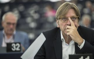 Member of the European Parliament Belgium's Guy Verhofstadt attend a session at the European Parliament in Strasbourg, eastern France, Tuesday Sept.11, 2018. (AP Photo/Jean-Francois Badias)