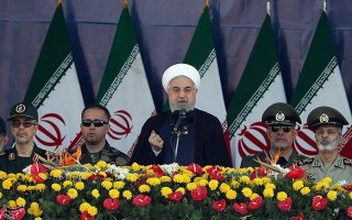 Iranian President Hassan Rouhani delivers a speech during the annual military parade marking  in Tehran, Iran September 22, 2018. Tasnim News Agency/via REUTERS ATTENTION EDITORS - THIS PICTURE WAS PROVIDED BY A THIRD PARTY.