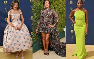 Η Millie Bobby Brown με Calvin Klein by Appointment, η Taraji P. Henson με Giambattista Valli Haute Couture και η Regina King με Christian Siriano.