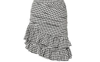 Ασπρόμαυρη καρό φούστα με βολάν €245,00