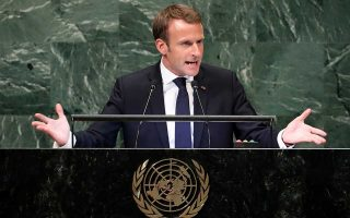 France's President Emmanuel Macron addresses the 73rd session of the United Nations General Assembly at U.N. headquarters in New York, U.S., September 25, 2018. REUTERS/Carlo Allegri