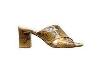 Mules από δέρμα φίδι με τετράγωνο τακούνι €239,00