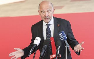 epa07002416 European Commissioner for Economic and Financial Affairs, Pierre Moscovici addresses the media ahead of an Informal Meeting of Economic and Financial Affairs Ministers (ECOFIN) at the Austria Center Vienna (ACV) in Vienna, Austria, 07 September 2018. Austria hosts a two-day Informal Meeting of Economic and Financial Affairs Ministers (ECOFIN) in Vienna on 07 and 08 September. Austria took over its third Presidency of the European Council from July 2018 until December 2018.  EPA/FLORIAN WIESER