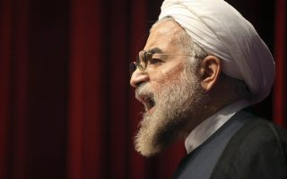 Iran's former nuclear negotiator, Hasan Rohani, a potential front-runner in the presidential race, speaks at a campaign rally in Tehran, Iran, Thursday, April 11, 2013. Rohani suggested he would seek better relations with the West in efforts to lessen international showdowns. (AP Photo/Vahid Salemi)