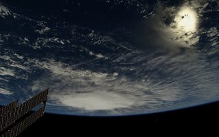 A photo taken from the International Space Station by astronaut Ricky Arnold shows Hurricane Florence over the Atlantic Ocean in the early morning hours of September 6, 2018.  Picture taken September 6, 2018.    Courtesy @astro_ricky/NASA/Handout via REUTERS     ATTENTION EDITORS - THIS IMAGE HAS BEEN SUPPLIED BY A THIRD PARTY. MANDATORY CREDIT.
