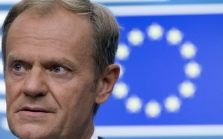 European Council President Donald Tusk speaks during a media conference at an EU summit in Brussels, Friday, June 29, 2018. European Union leaders cried victory Friday, claiming to have set aside major differences over how best to handle migrant arrivals. (AP Photo/Virginia Mayo)