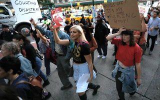 Διαδήλωση κατά της υποψηφιότητας Κάβανο στη Νέα Υόρκη.