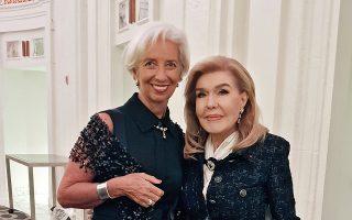 H Μαριάννα Βαρδινογιάννη με τη βραβευθείσα Κριστίν Λαγκάρντ.