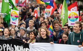 Διαδηλωτές κατά της Ακροδεξιάς στο Μόναχο ενόψει εκλογών.