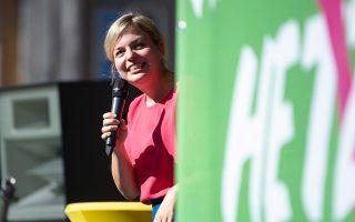 Η επικεφαλής των Βαυαρών Πρασίνων, Σβένια Σούλτσε. Τα ποσοστά της μπορεί να αποδειχθούν «αγκάθι» για το CSU.