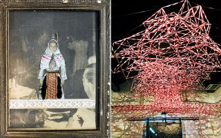 Αριστερά, «Balkan Epos» του Νίκου Γυφτάκη. Δεξιά, «Νέφη» του Ανδρέα Σάββα. Από την Μπιενάλε Σύγχρονης Τέχνης Δυτικών Βαλκανίων.